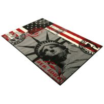 DeBonsol - Tapis salon Statue Liberte new york usa gris