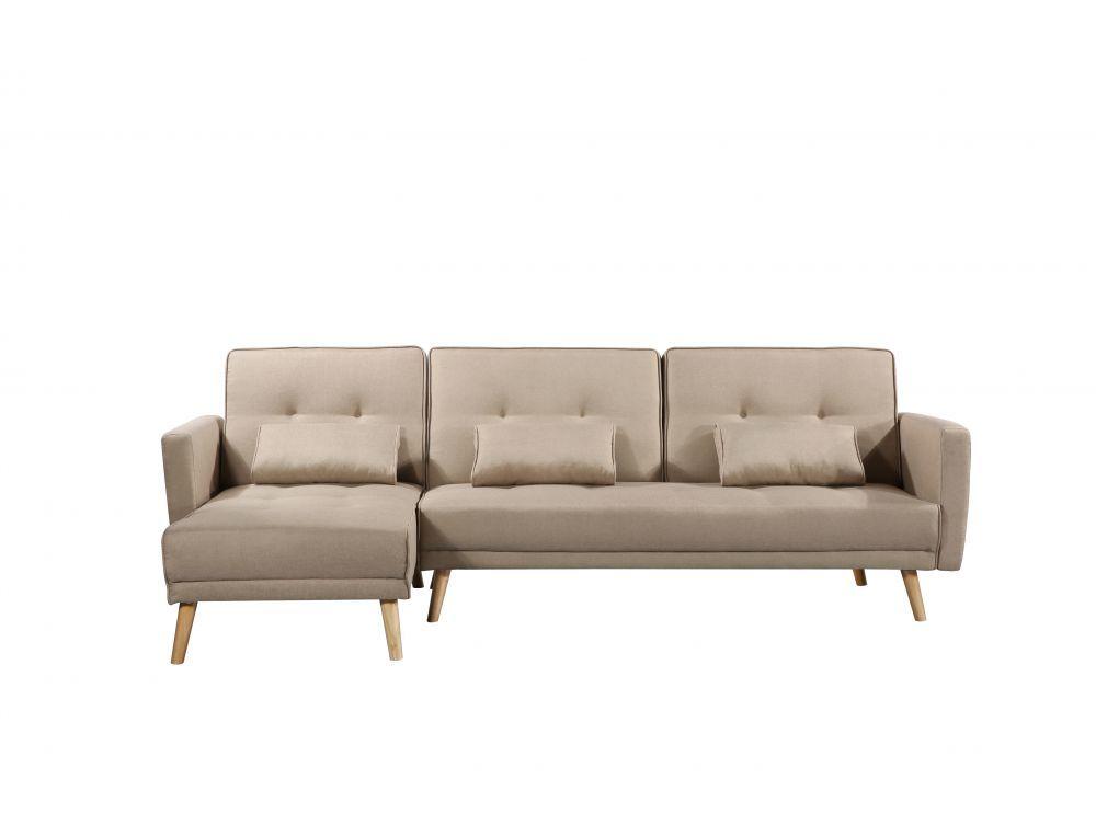 Canapé d'angle réversible et convertible 4 places tissu beige ZOEY