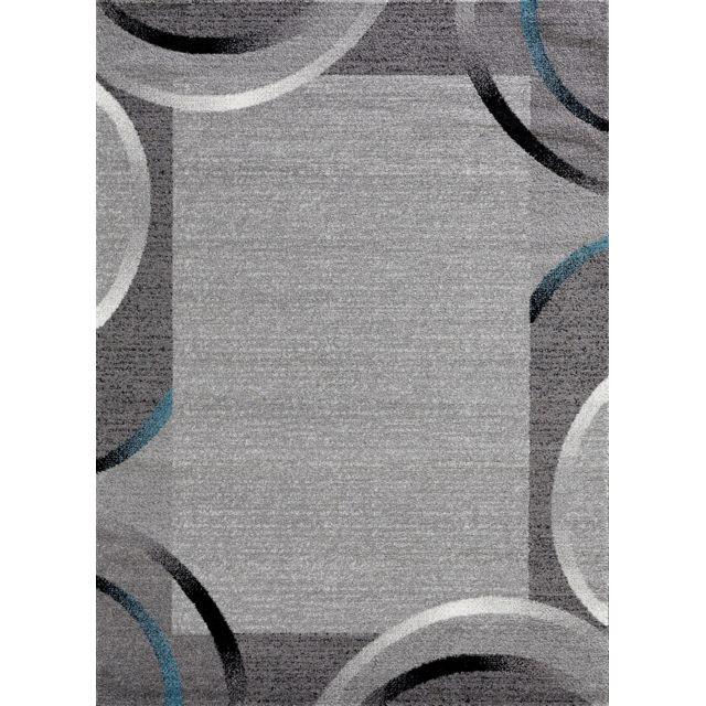 Koton Tapis De Salon Santana Gris Noir Bleu Motifs Arcs 80x150cm