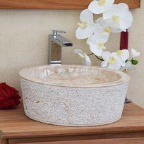 Ocean Line - Vasque de salle de bains à poser ronde en Marbre ø 40 cm Crème - Drip