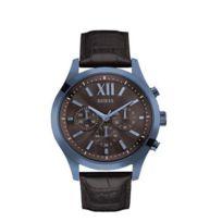 Guess - Montre Pour Homme Multifonction Marron Et Bleue Bracelet Cuir W0789g2