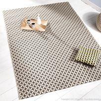 Tapis 100% polypropylène effet sisal motifs croix beige/noir Yfir - 60x110cm