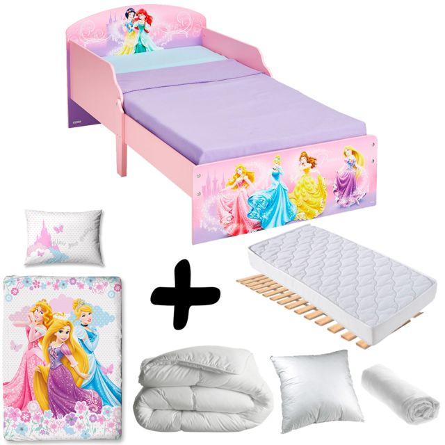 Pack complet lit carrosse princesse disney litmatelas for Chambre design avec housse de couette 135x200