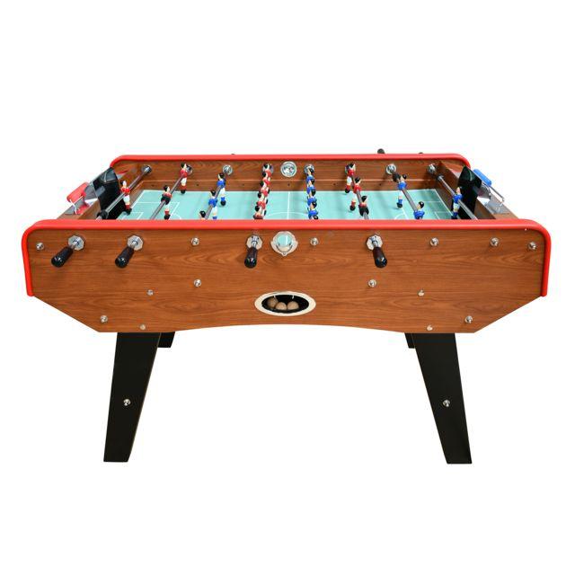Play4FUN Babyfoot Deluxe type Bistrot - 151 x 77 x 91 cm - Table de Baby-foot avec barres téléscopiques, Couleur Bois Chêne et Ba