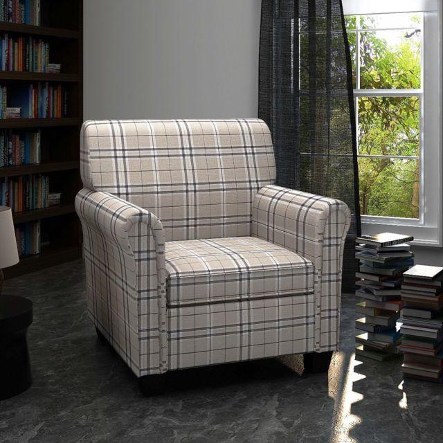 Vidaxl fauteuil avec coussin Tissu Crème | Crème