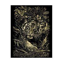 Reeves - Kratzbilder-kratzbild-scraper tiger sur la lauer-doré taille : 20 cm x 25 cm-kit complet