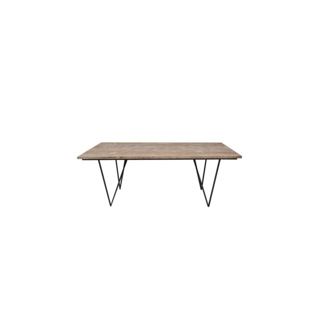 hellin table a manger rectangulaire bois metal bois clair 90cm x 200cm x 75cm non. Black Bedroom Furniture Sets. Home Design Ideas