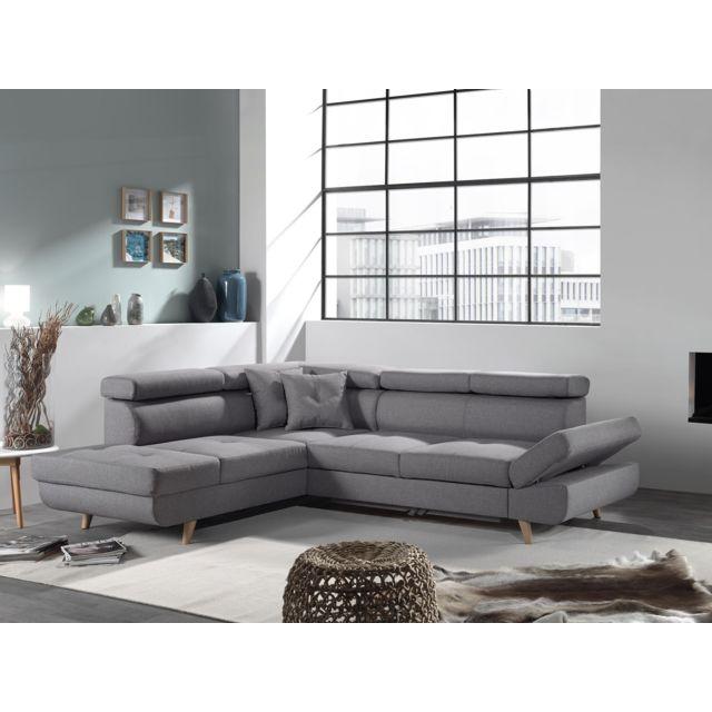 BOBOCHIC LINEA - Canapé angle gauche CV - Gris clair - Style scandinave