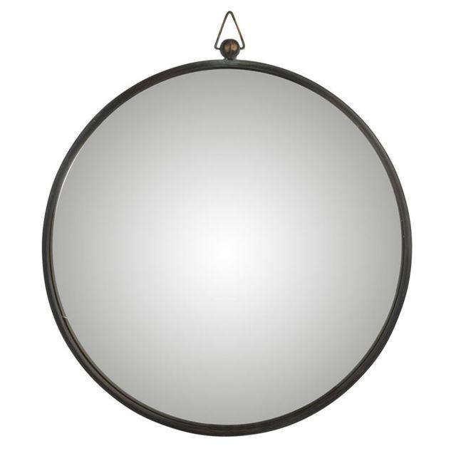 Tousmesmeubles Miroir Métal noir taille L - Tolfetano