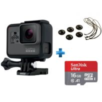 GOPRO - HERO 5 BLACK EDITION + Carte micro SD Ultra 16 Go100MB/s C10 UHS U1 A1 Card+Adaptateur + Dragonnes de caméra compatible Hero/ hero 2/ Hero 3