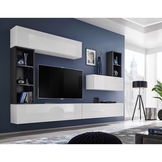 Meuble Tv Mural Design Blox I 280cm Blanc Noir