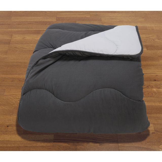 """ABEIL Couette """"Confort Design"""" en microfibre Couette Confort Design Couette 200x200 cm - Gris réversible Blanc"""