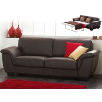 Linea Sofa - Canapé 3 places convertible cuir luxe Salerne - cuir italien - Chocolat