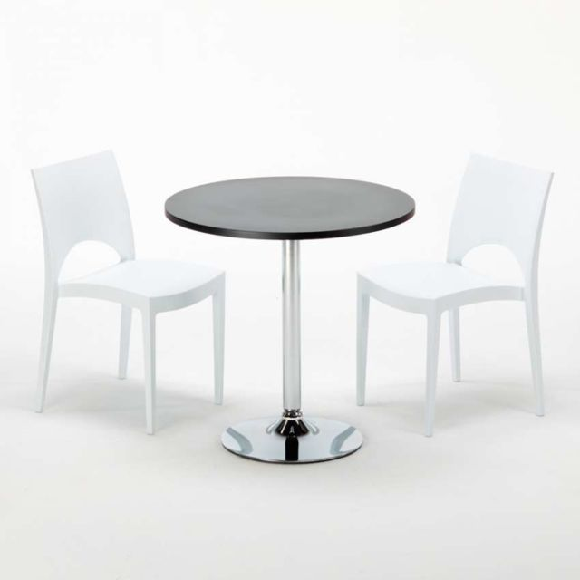 grand soleil table ronde noir et 2 chaises colores p paris blanc - Chaise Pour Table Ronde