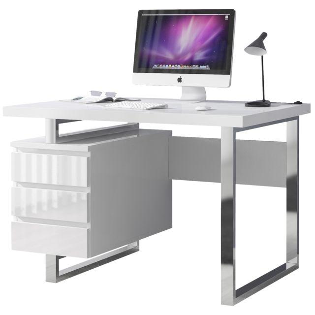 Bureau design avec 3 tiroirs blanc laqué en mdf avec piètement en métal  chromé 115 cm x 60 cm C-Leala