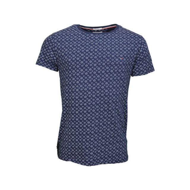 Tommy Hilfiger T Shirt Imprime Bleu Marine Motif Fleur Pour Homme