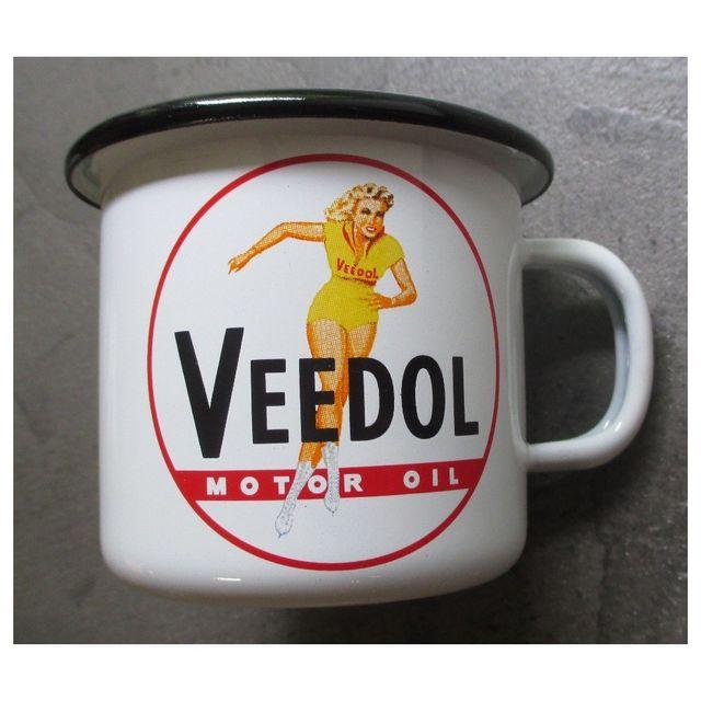 Universel Mug veedol pin up en email tasse à café emaillée motor oil
