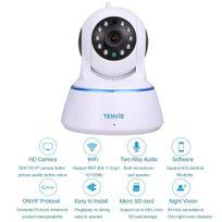 TENVIS - T6812 Caméra de surveillance HD 720Pn1280x720 H264 IP Wifi sans fil - Détection mouvement Alerte PUSH - Vision Nocturne - Son bidirectionnel - Motorisée - Appli téléphone & Notice en français