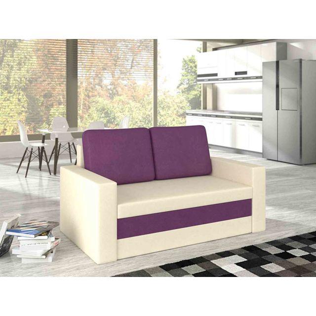 KASALINEA Canapé convertible vanille et noir ou vanille et violet YANN