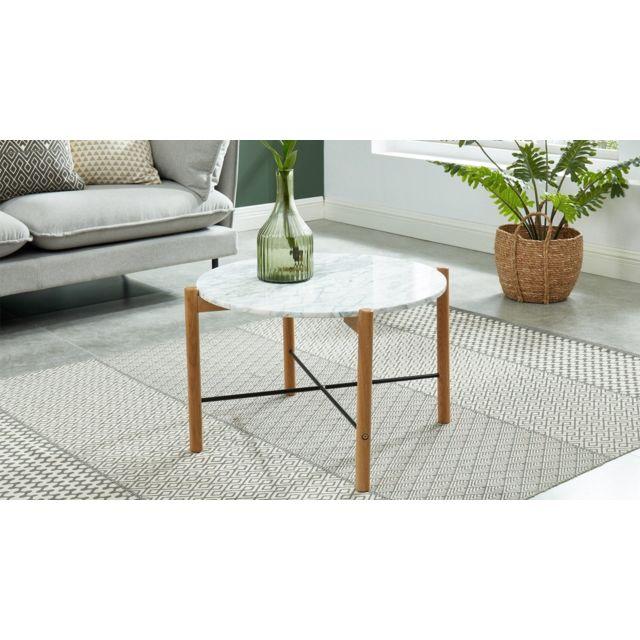 HOMIFAB Table basse ronde 60 cm en marbre blanc et pieds en chêne- Collection Anna