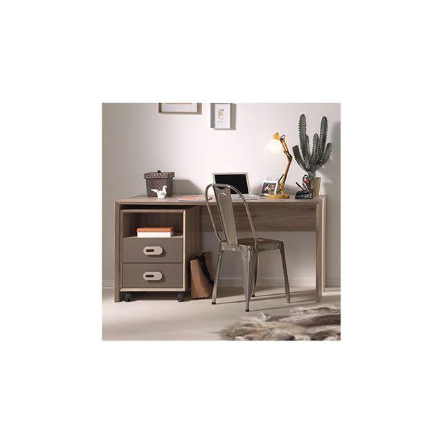 Bureau + caisson pour bureau bois naturel - Lola