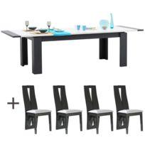 - Table rectangulaire 200x100 allonge + 4 chaises blanc laqué et gris