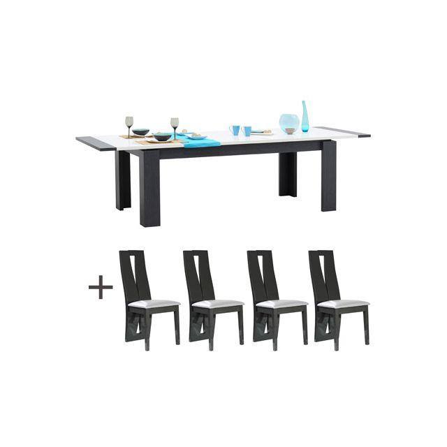Table rectangulaire 200x100 allonge + 4 chaises blanc laqué et gris