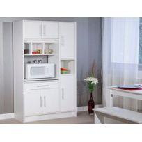 Vente-unique - Buffet de cuisine Mady - 5 portes & 1 tiroir - Coloris blanc