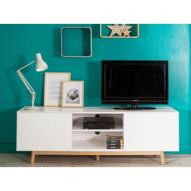 Kaligrafik Meuble Tv 2 portes 2 niches en bois laqué blanc pieds chêne L180cm Jacobson