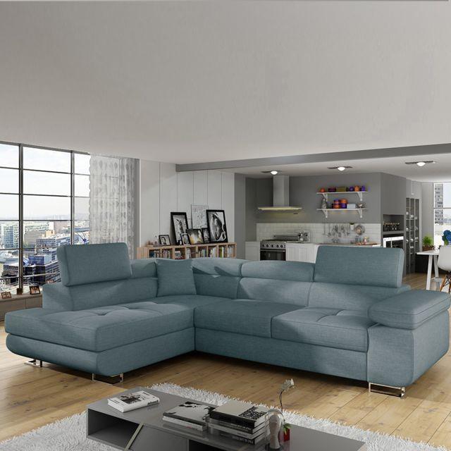 Sofamobili Canapé angle à gauche en tissu bleu clair convertible Scott