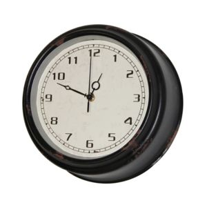 sphere inter horloge murale en m tal effet vieilli d30cm factory noir noir pas cher. Black Bedroom Furniture Sets. Home Design Ideas