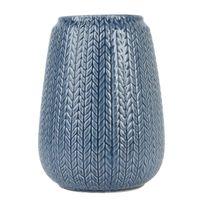 Present Time - Vase Knitted Céramique 17 cm Bleu