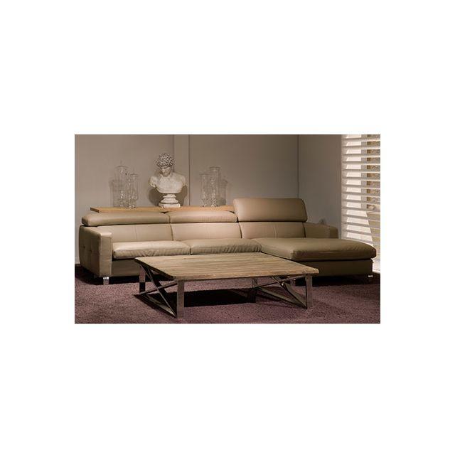 Canapé d'angle à droite avec tétières réglables pieds métal - coloris tau