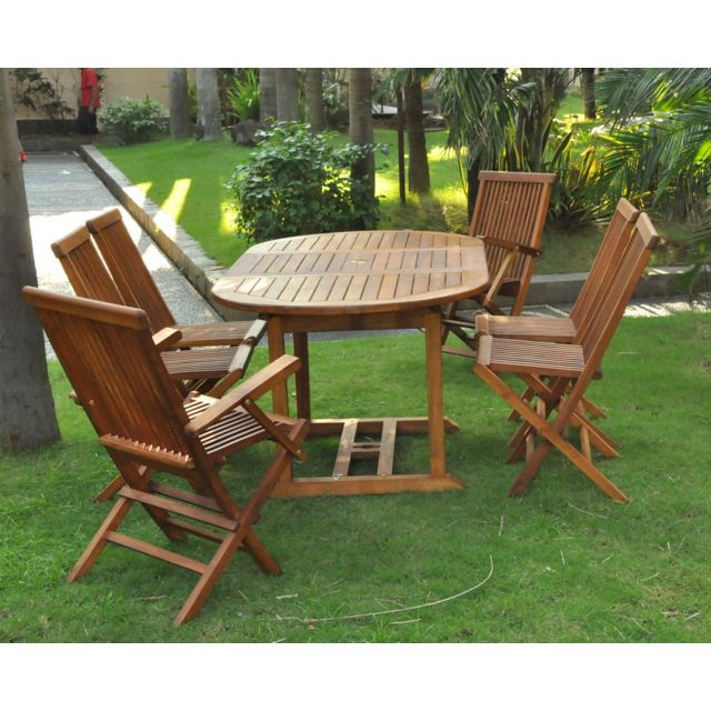 Kajang: Salon en teck massif 6 pers + 4 chaises + 2 fauteuils + table ovale