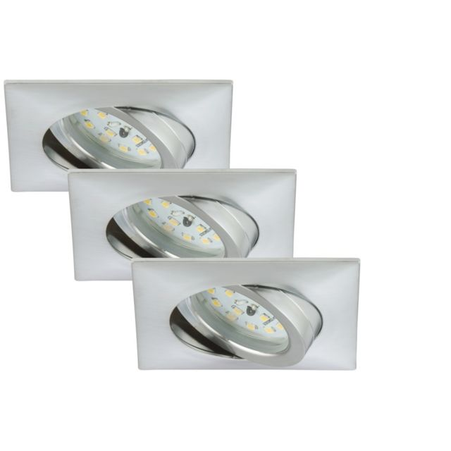 Briloner Leuchten Set 3 Spots Led Encastrables Orientable Briloner Module 5W Ip23 Aluminium Carré