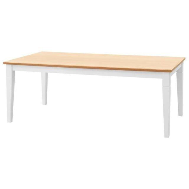 83a5bdd734c30 GÉNÉRIQUE - Table A Manger Seule Cisa Table a manger de 8 a 10 personnes  style contemporain placage chene + pieds droits fuselés blanc mat - L 200 x  l 100 ...