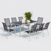 Lusiana 8 places : ensemble de jardin en acier inoxydable gris et textilène