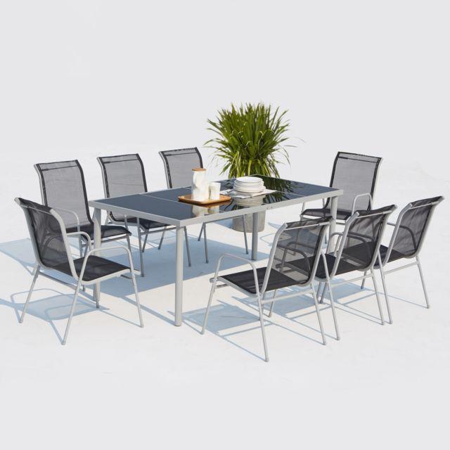 CONCEPT USINE Ensemble de jardin Lusiana 8 places acier inoxydable gris et textilène