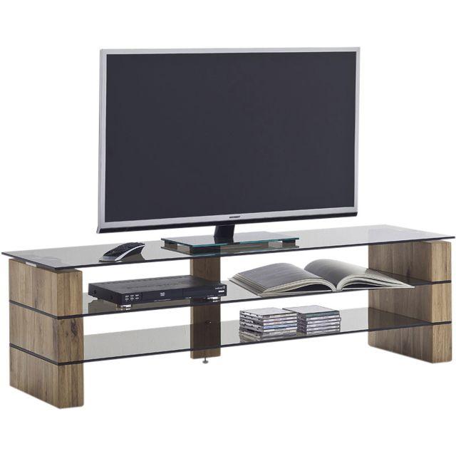 meilleure sélection 4c491 a6a13 Meuble tv design en bois chêne massif et verre noir trempé securit 140 cm  C-Chiba