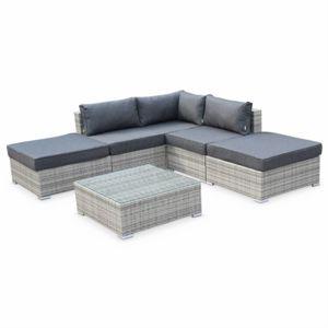 soldes alice 39 s garden salon de jardin en r sine tress e milano nuances de gris coussins. Black Bedroom Furniture Sets. Home Design Ideas