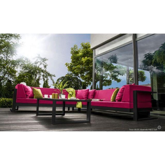 House and Garden - Salon De Jardin 6 Places Toscane Noir Gauche Sans ...