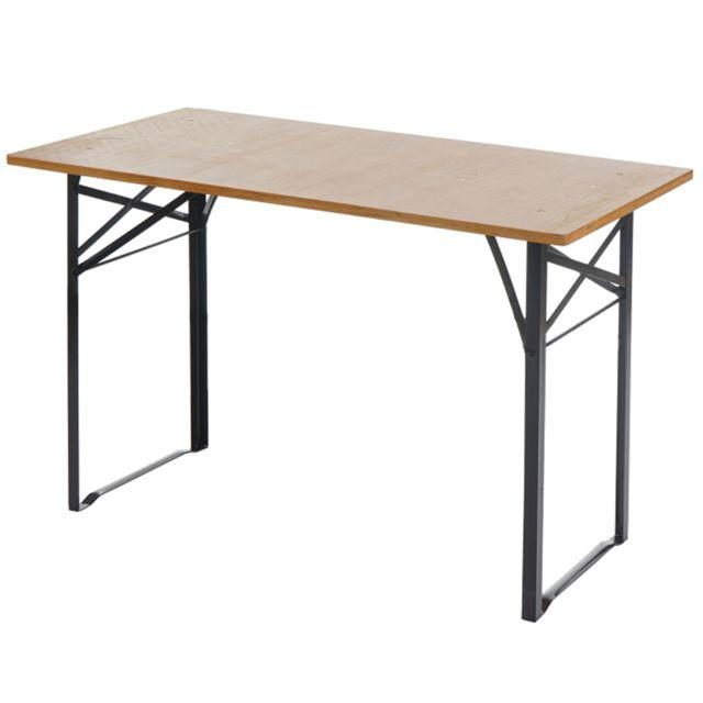 Table de jardin en bois pliable - Dim : H 76 x L 115 x P 60 cm