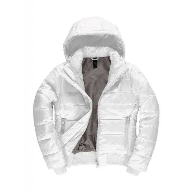 B&C Doudoune à capuche amovible pour femme - Jw941 - Blanc
