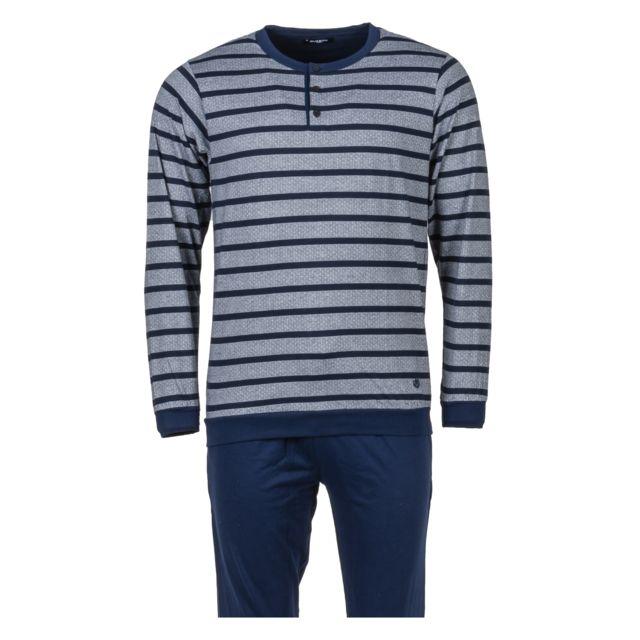 Guasch Pyjama long en coton gris chiné rayé et pantalon bleu marine