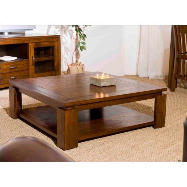 MACABANE Table basse en bois carrée FREESIA