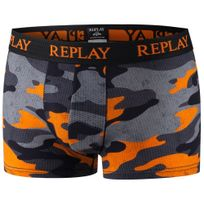 Replay - Boxer Homme Coton Camouflage Gris Orange