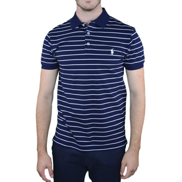 Polo Ralph Lauren slim stretch rayé Bleu marine Homme Mode
