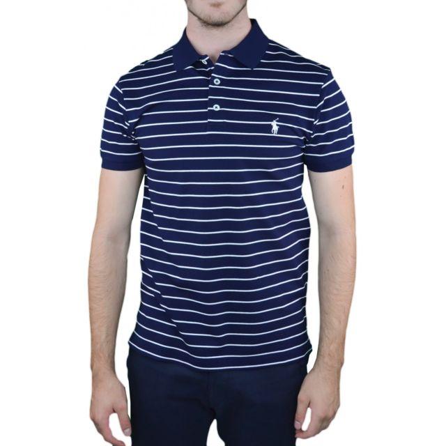 Ralph Lauren Polo rayé bleu marine et blanc pour homme pas cher
