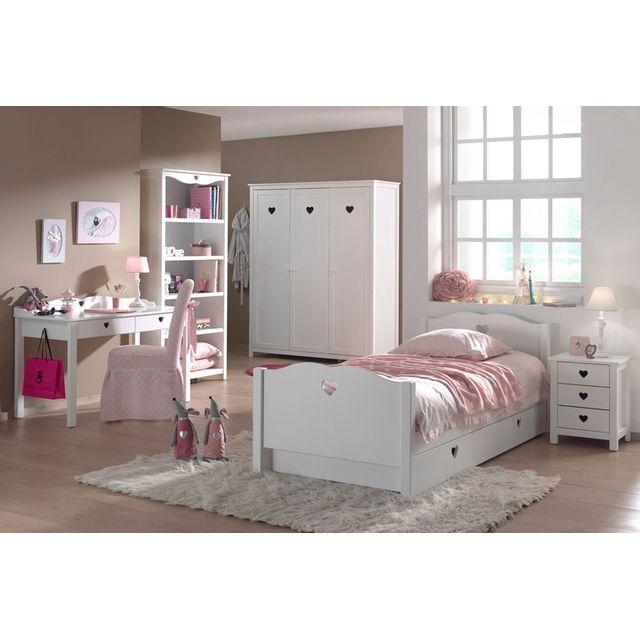 Comforium Ensemble complet 6 pièces pour chambre à coucher romantique 90x200 cm coloris blanc avec armoire 3 p, bureau,bibliothèqu