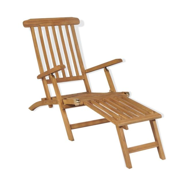 De Avec Bois Terrasse Solide Pied Teck Chaise Repose WDI29EH